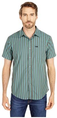 Brixton Charter Stripe Short Sleeve Woven (Graphite) Men's Clothing