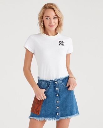 7 For All Mankind Marques Almeida x 7FAM Logo Tee in White