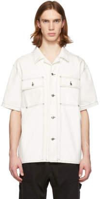 Alexander Wang White Overdyed Denim Short Sleeve Shirt