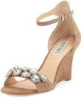 Badgley Mischka Clear Crystal Leather Dressy Sandal, Brown