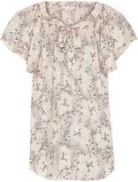Rebecca Taylor Bow-detailed Floral-print Silk-satin Jacquard Blouse