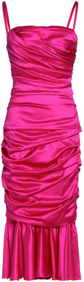 Dolce & Gabbana Ruched Stretch-silk Satin Dress