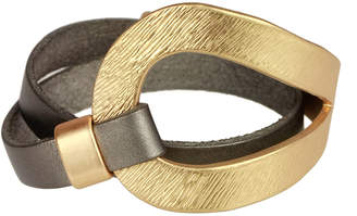 Saachi Style Style Women's Bracelets grey/gold - Gray Leather & Goldtone Loop Bracelet