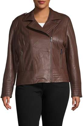 Badgley Mischka Plus Asymmetrical Leather Jacket