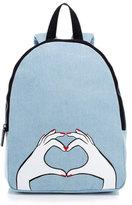 Lulu Guinness Women's Heart Hands Large Denim Backpack Denim