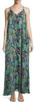 Lucca Couture V-Neck Sleeveless Printed Maxi Dress, Teal/Pink