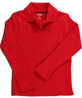 French Toast Little Girls' L/S Fitted Knit Polo With Picot Collar