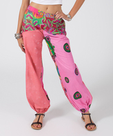 Aller Simplement Pink Abstract Harem Pants