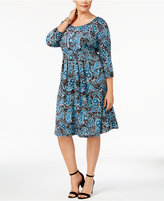 NY Collection Plus Size Pleated Fit & Flare Dress