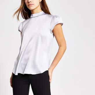 River Island Petite silver diamante short sleeve blouse