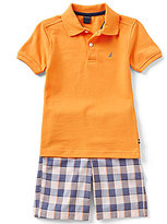 Nautica Little Boys 4-7 Solid Short-Sleeve Polo Shirt and Plaid Shorts Set