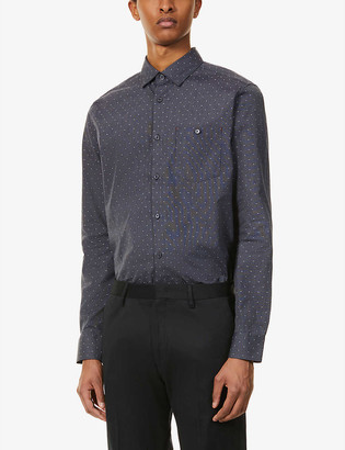 Ted Baker Polka dot and stripe-print stretch-cotton shirt