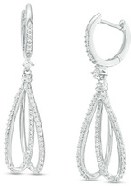 Zales 1/2 CT. T.W. Diamond Double Loop Drop Earrings in 10K White Gold