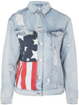 Topshop MOTO USA Flag Motif Denim Jacket
