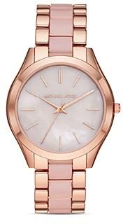 Michael Kors Runway Slim Mother-of-Pearl Dial Link Bracelet Watch, 42mm