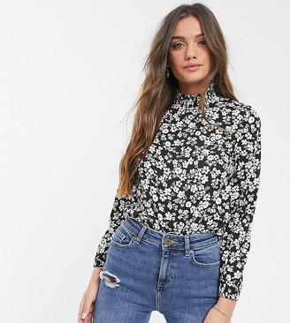 New Look Petite floral top in black pattern
