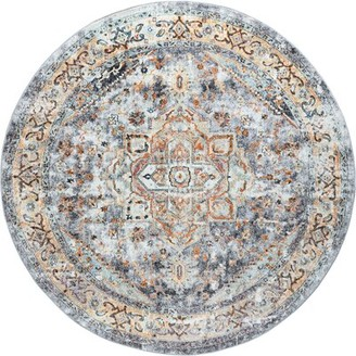 Bungalow Rose Hartlyn Gray Rug Rug Size: Round 7'10''