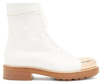 Gabriela Hearst Riccardo Toe-cap Lace-up Leather Boots - White Gold