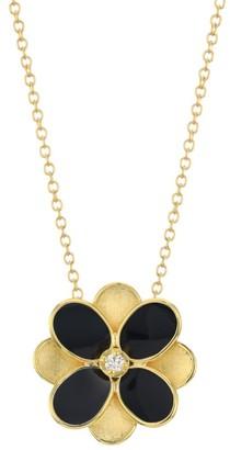 Marco Bicego Petali 18K Yellow Gold, Black Enamel & Diamond Small Flower Pendant Necklace
