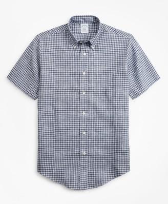 Brooks Brothers Regent Fit Ground Check Irish Linen Short-Sleeve Sport Shirt