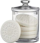 Crate & Barrel Glass Canister with Set of Five Snowflake Soaps