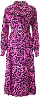 Alessandra Rich Leopard Print Midi Dress