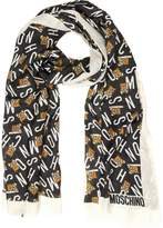Moschino All Over Signature and Teddy Bear Printed Modal and Cashmere Stole