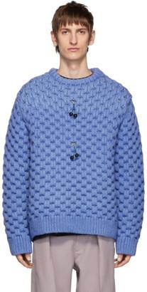 Raf Simons Blue Wool Honey Stitch Sweater