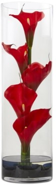 "Nearly Natural 20"" Red Calla Lily Artificial Arrangement in Cylinder Glass Vase"