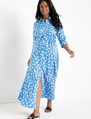 ELOQUII Printed Maxi Shirtdress