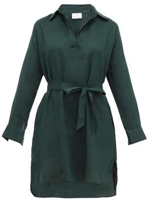 POUR LES FEMMES Open-collar Tie-waist Linen Nightdress - Dark Green