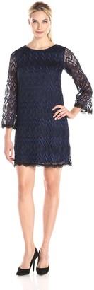 Amy Byer Women's Scalloped Lace Slight Bell Sleeve A Line Dress Round Neckline Straight Hemline