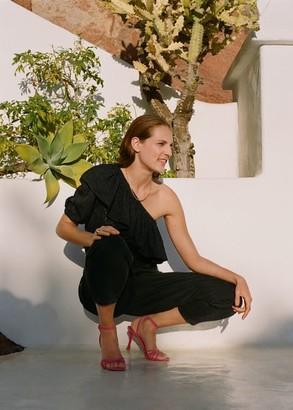MANGO Leather strap sandals fuchsia - 9 - Women