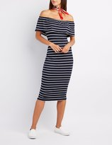 Charlotte Russe Striped Off-The-Shoulder Midi Dress