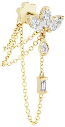 Maria Tash Diamond Lotus Three Chain Wrap Threaded Stud Earring