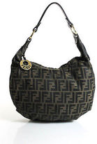 Fendi Brown Nylon Zucca Print Gold Tone Hobo Handbag