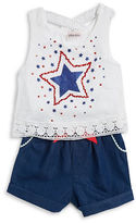 Little Lass Girls 2-6x Girls Glitter Star Romper