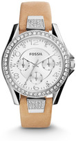 Fossil Riley Multifunction Light Brown Leather Watch
