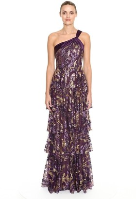 Marchesa Notte One Shoulder Beaded Sequin Evening Gown