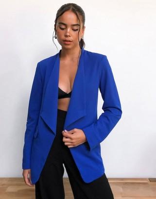 Vila soft collar blazer in blue