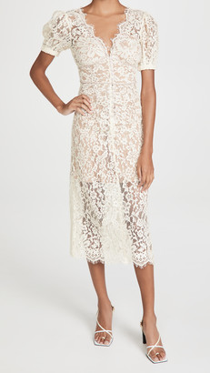 Self-Portrait Fine Corded Lace Midi Dress