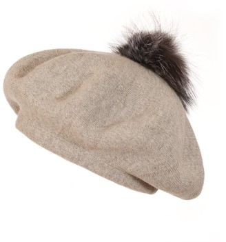 Popski London Bella Beret Fur Pom Pom Hat In Whisper Grey