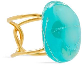EJING ZHANG Tilda 18-karat Gold-plated Resin Ring