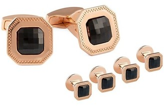 Tateossian Checkerboard Precious Rose Goldplated & Black Spinel Cufflinks