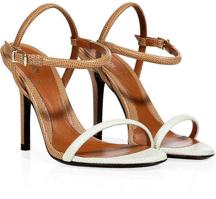 Fendi White/Camel Embossed Leather Sandals