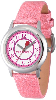 Girl' Red Balloon tainle teel Watch - Pink
