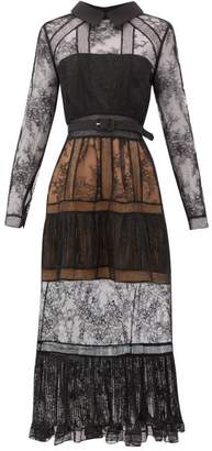 Self-Portrait Point Collar Lace-insert Tiered Dress - Womens - Black