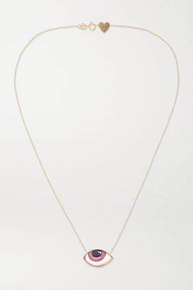 Lito Racil Tu Es Partout 14-karat Gold And Enamel Necklace