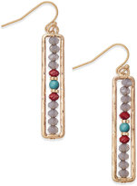 INC International Concepts Gold-Tone Gray Bead Boxed Drop Earrings, Only at Macy's