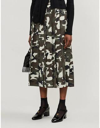 Miu Miu Camouflage-print wool and mohair-blend midi skirt